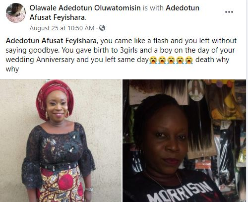 Woman dies after giving birth to Quadruplets on her 7th wedding anniversary