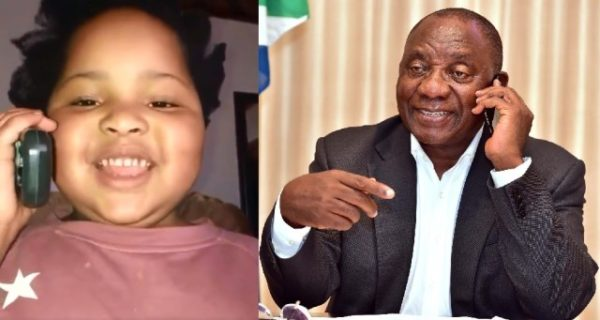 South Africans burst out in laughter after video of this Child's phone call to President Ramaphosa surfaced on social media