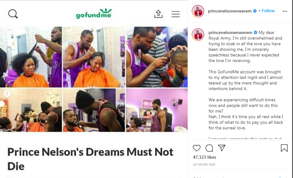 BBNaija: Prince rejects Gofundme set up by Nigerians after eviction