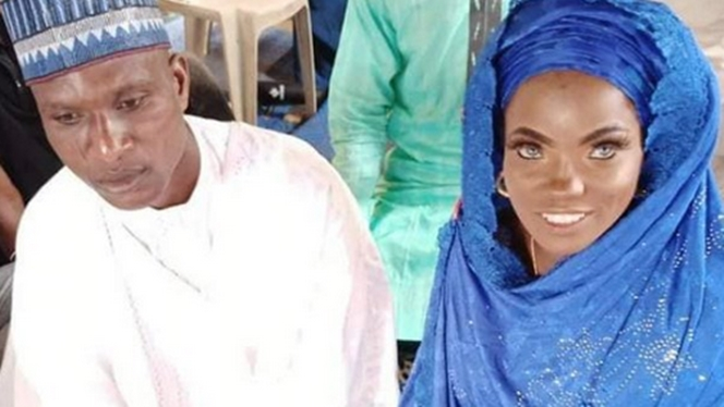 Blue-eyed lady allegedly abandoned by husband remarries him (Photos)