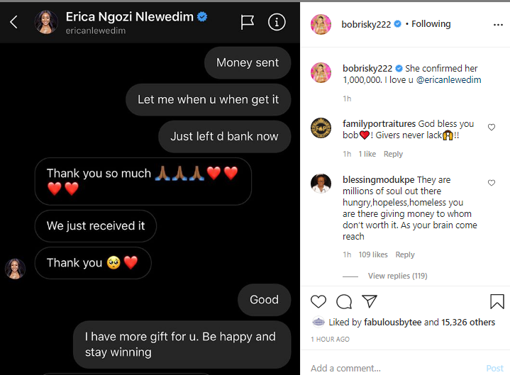 Bobrisky gifts BBNaija disqualified housemate, Erica N1 million