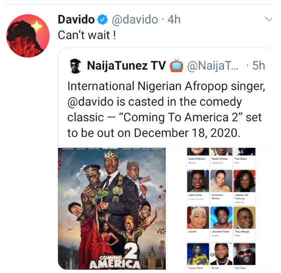 """Davido set to feature in """"Coming to America 2"""""""