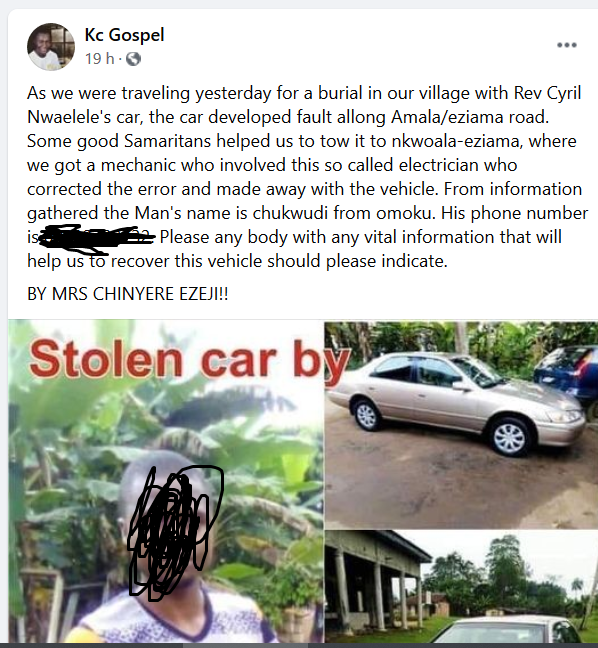 Drama as roadside mechanic reportedly flees with customer's car in Imo