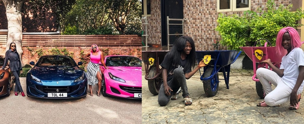 Ikorodu Bois Recreate Photos Of DJ Cuppy And Sister In Their New Ferarri Whips