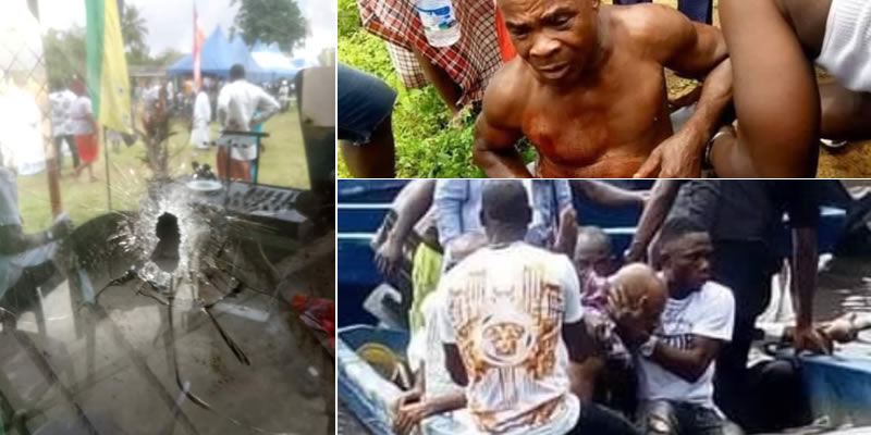 PHOTO: Burial ceremony turns bloody in Rivers State; Lawmaker, LG boss, PDP Chairman scamper for safety
