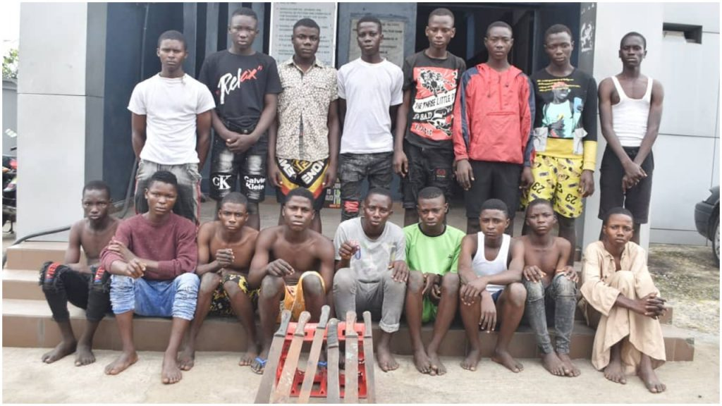 Police arrest 17 suspected armed hoodlums terrorizing Lagos residents