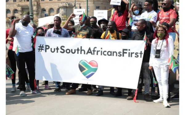 """SA group marches in Pretoria with the hashtag """"PutSouthAfricansFirst"""""""