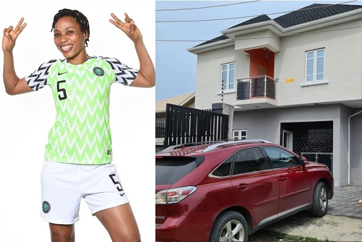 Super Falcons star, Onome Ebi shows off her newly acquired house in Lagos