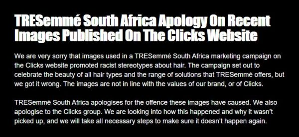 """TRESemmé South Africa apologizes for """"racist advert"""" posted on Clicks website"""