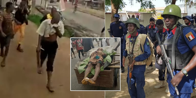 VIDEO: NSCDC officer kills unarmed man in Aba, residents protest with victim's corpse