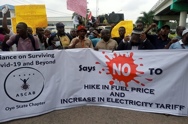Workers ignore NLC, TUC directive, protest hike in fuel price and electricity tariff in Ibadan