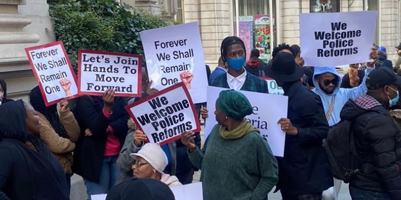 #EndSARS: Nigerians in Diaspora hold peace rally in London, condemns violence by protesters