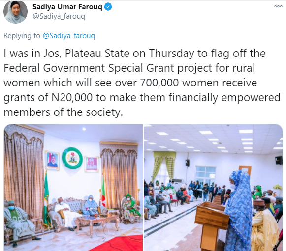 Nigerians react after Minister of Humanitarian Affairs announced plans to empower 700women with N20,000 grant