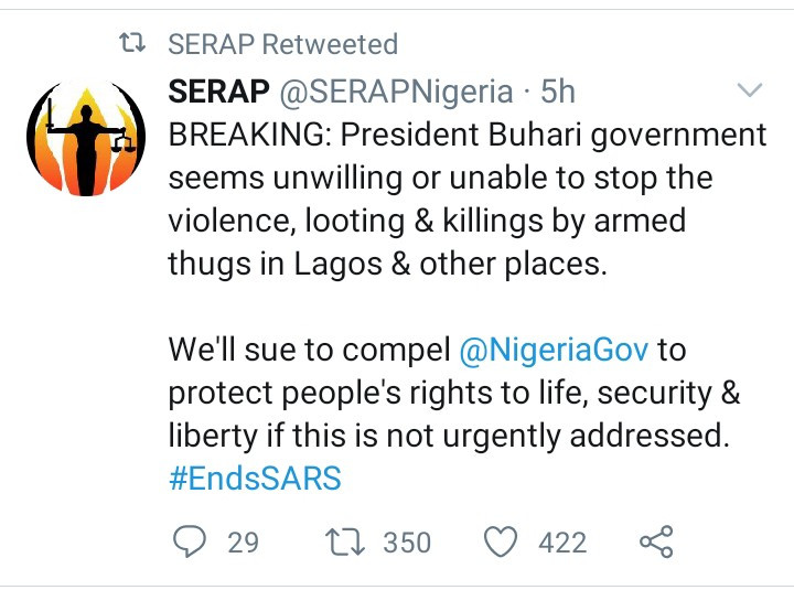 SERAP to sue Nigerian Government and 'compel' Buhari administration to protect citizens