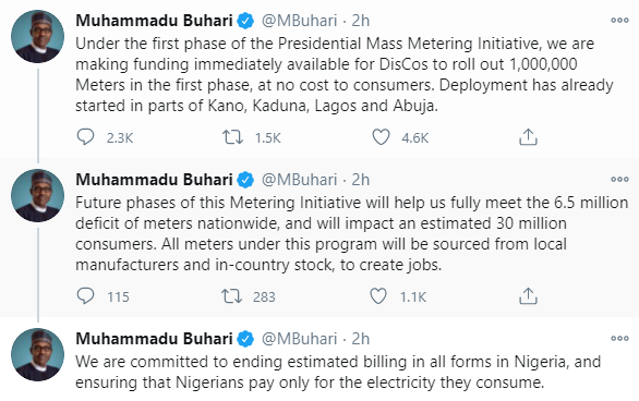 Nigeria's President, Buhari vows to end estimated electricity billing