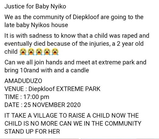 2-year-old girl repeatedly raped and beaten to death by her mother's 30-year-old boyfriend in South Africa