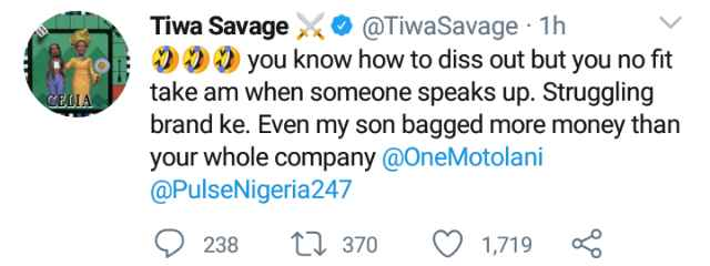 """Drama As Tiwa Savage Drags Journalist Who Called Her A """"Struggling Brand"""""""