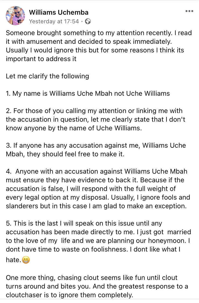 Williams Uchemba reacts to gay allegation