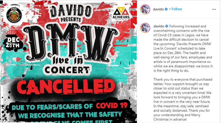 Davido Cancels DMW Live In Concert Over Rise Of Covid-19 Cases In Lagos