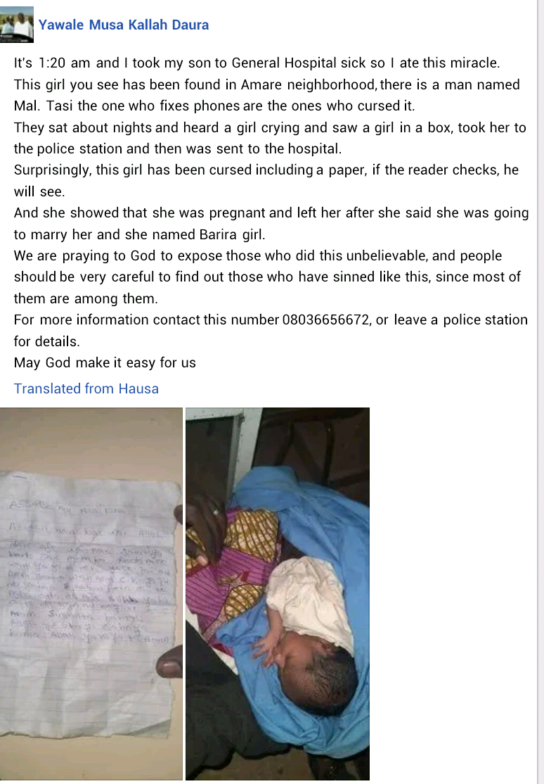 Mom dumps newborn, drops note she was impregnated by man who promised her marriage (Photo)
