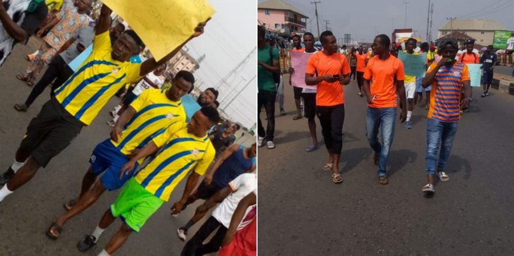 PHOTOS: Sunshine players protest over three months unpaid salaries in Ondo State