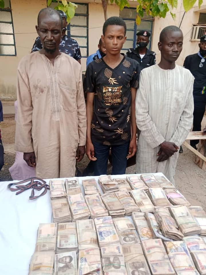 PHOTO: Police arrest three members of a notorious bandit syndicate in Katsina, recover N3.6m ransom