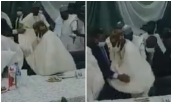 Video: Tinubu stumbles after missing his step at Arewa House lecture in Kaduna