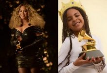 Beyoncé's daughter, Blue Ivy poses with her first Grammy award
