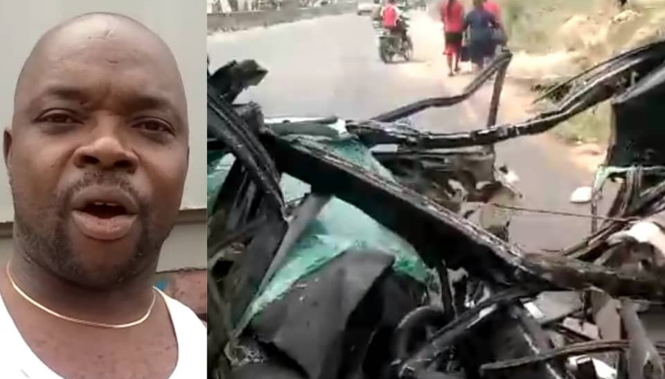 Video: Man survives ghastly accident after trailer climbed and crushed his car in Anambra