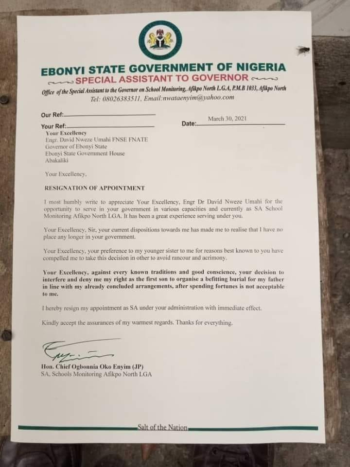 Umahi's aide resigns, accuses the Governor of showing undue interest in his younger sister