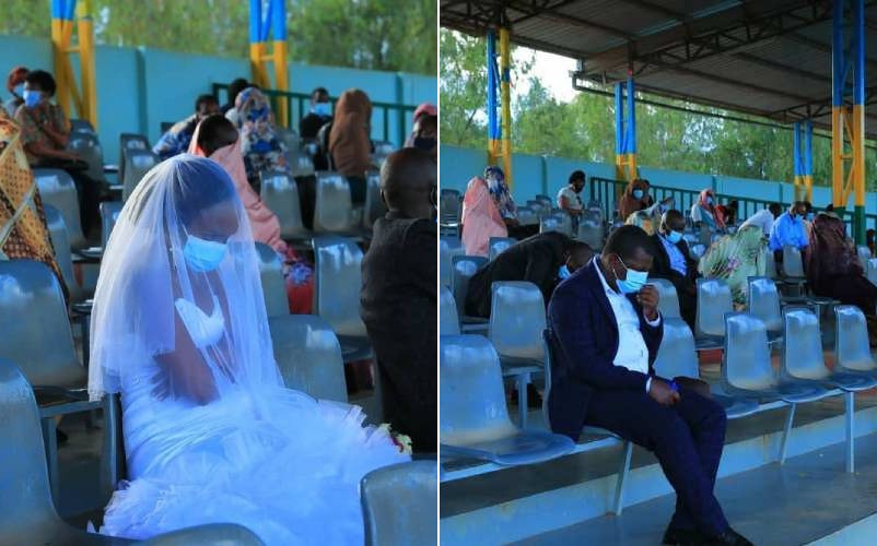 PHOTOS: Newlywed Rwandan couple spend first night in stadium after being arrested for breaking Covid-19 rules