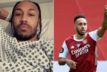 Arsenal striker Pierre Aubameyang shares photo from hospital bed as he recovers from Malaria