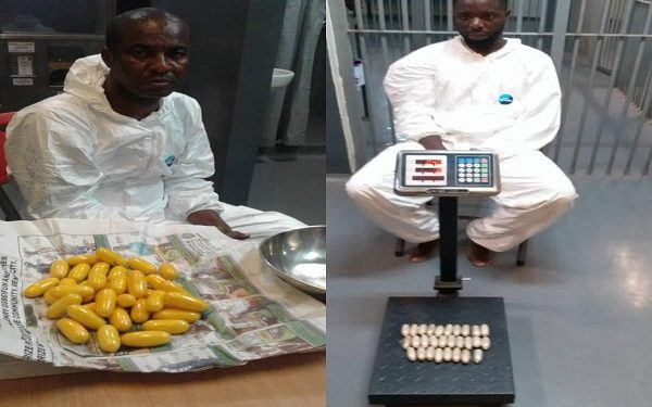 Two drug traffickers excrete 191 pellets of cocaine, heroin at Lagos airport