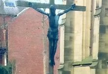 Thieves steal 6ft bronze crucifix worth £20,000 from church garden of remembrance in Newcastle