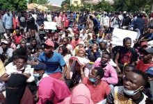 PHOTOS: Kaduna state university students storm govt house to protest hike in tuition fee
