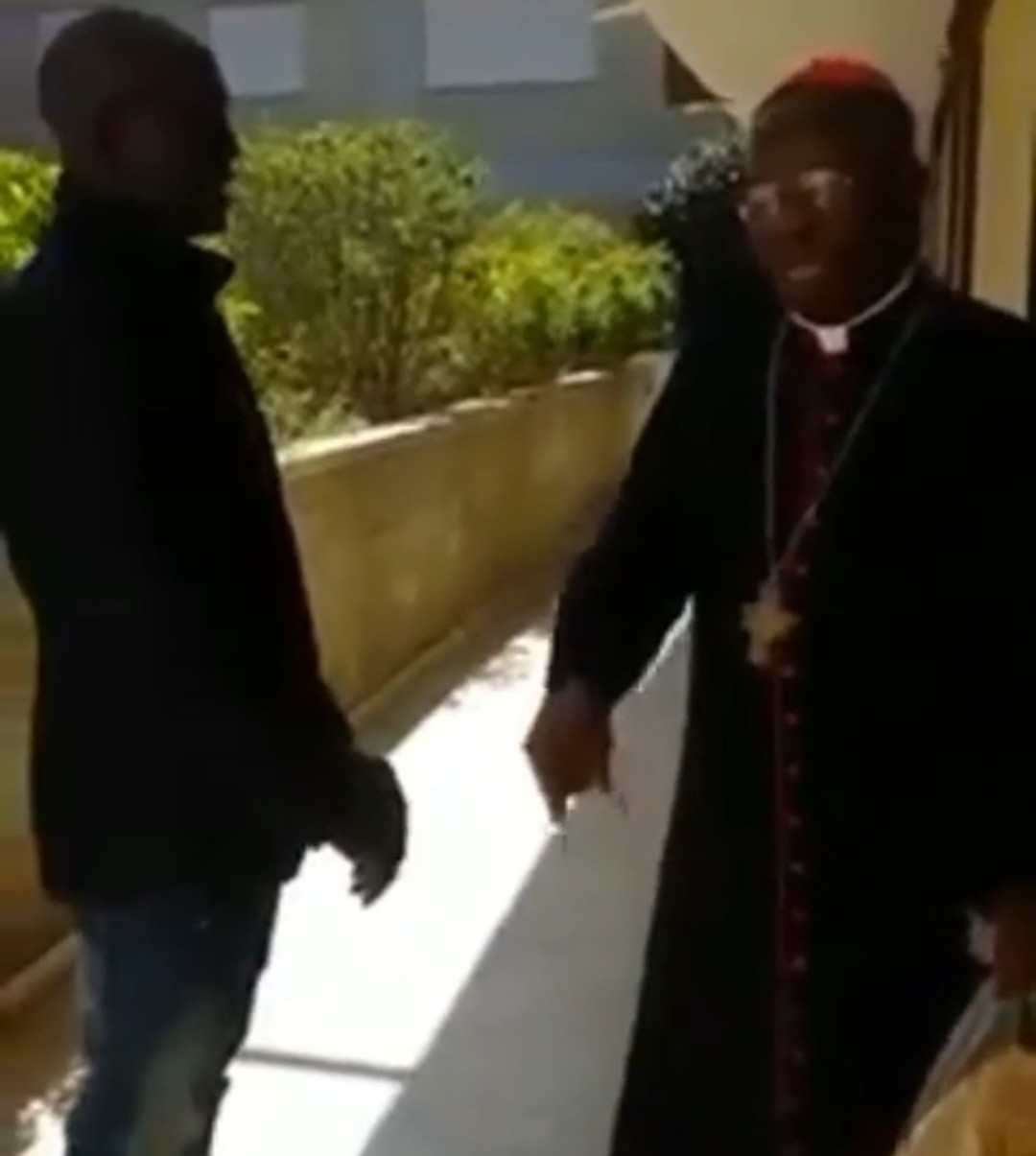 Video: IPOB members approach Cardinal Arinze in Rome, ask him to beg Pope to endorse Biafra