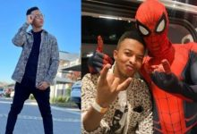 Oros Mampofu pictured with Spiderman