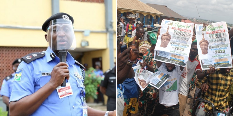 JUST IN: Police disperse Yoruba Nation protesters with tear gas, water cannon in Lagos