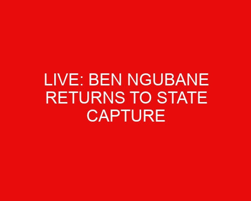 LIVE: Ben Ngubane returns to state capture inquiry on hot seat