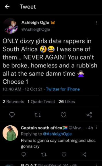 Flvme hits back at ex-girlfriend following her tweet about dating SA rappers